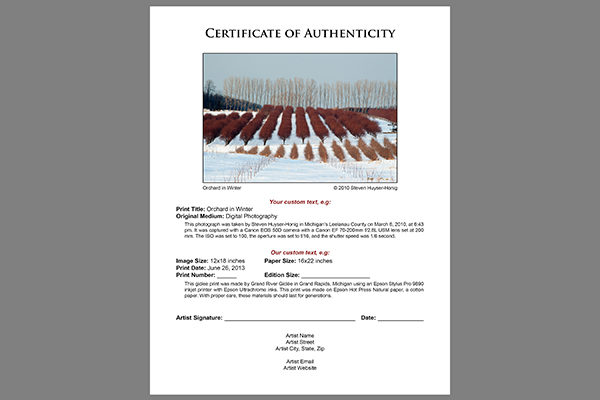 Sample certificate of authenticity photography gallery sample certificate of authenticity photography choice image sample certificate of authenticity photography choice image sample certificate yadclub Images